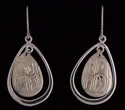 Sterling Lovebird Earring with Teardrop Hoop Border
