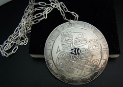 Sterling Mother Child Raven With Eagle feather border